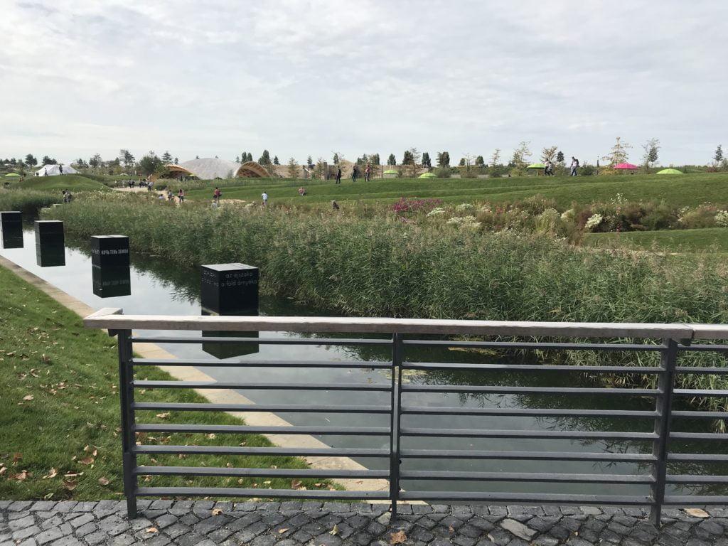 Weit modellierte Landschaft mit Dünenwellen und leichter, wassersparender Bepflanzung.